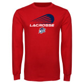 Red Long Sleeve T Shirt-Abstract Lacrosse Design