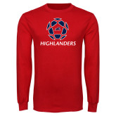 Red Long Sleeve T Shirt-Soccer Ball Design