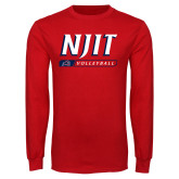 Red Long Sleeve T Shirt-Volleyball Bar Design