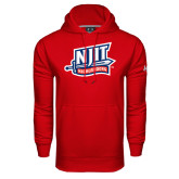 Under Armour Red Performance Sweats Team Hoodie-NJIT Mark