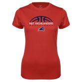 Ladies Syntrel Performance Red Tee-Basketball Half Ball Design