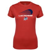 Ladies Syntrel Performance Red Tee-Abstract Lacrosse Design