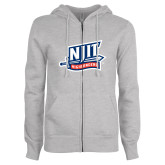 ENZA Ladies Grey Fleece Full Zip Hoodie-NJIT Mark