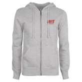 ENZA Ladies Grey Fleece Full Zip Hoodie-Stacked Wordmark