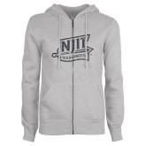 ENZA Ladies Grey Fleece Full Zip Hoodie-NJIT Mark Glitter