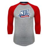 Grey/Red Raglan Baseball T Shirt-NJIT Mark