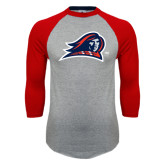 Grey/Red Raglan Baseball T Shirt-Mascot Distressed
