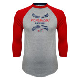 Grey/Red Raglan Baseball T Shirt-Baseball Seams Design