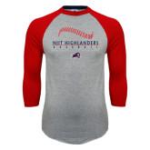 Grey/Red Raglan Baseball T Shirt-Baseball Stacked Design