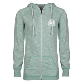 ENZA Ladies Seaglass Marled Full Zip Hoodie-Official Logo