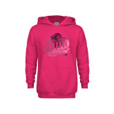 Youth Raspberry Fleece Hoodie-Official Logo Foil