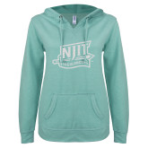 ENZA Ladies Seaglass V Notch Raw Edge Fleece Hoodie-NJIT Mark Glitter