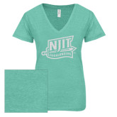 ENZA Ladies Seaglass Melange V Neck Tee-NJIT Mark Glitter