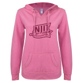 ENZA Ladies Hot Pink V Notch Raw Edge Fleece Hoodie-NJIT Mark Glitter