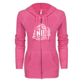 ENZA Ladies Hot Pink Light Weight Fleece Full Zip Hoodie-Official Logo