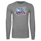 Grey Long Sleeve T Shirt-NJIT Mark