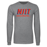 Grey Long Sleeve T Shirt-Stacked Wordmark