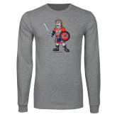 Grey Long Sleeve T Shirt-Mascot Distressed
