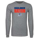 Grey Long Sleeve T Shirt-Highlander Nation