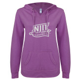 ENZA Ladies Berry V Notch Raw Edge Fleece Hoodie-NJIT Mark Glitter