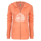 ENZA Ladies Coral Light Weight Fleece Full Zip Hoodie-Official Logo
