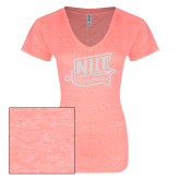 ENZA Ladies Coral Melange V Neck Tee-NJIT Mark Glitter