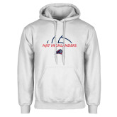 White Fleece Hoodie-Abstract Volleyball Design