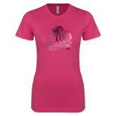 Ladies SoftStyle Junior Fitted Fuchsia Tee-Official Logo Foil