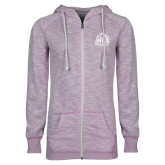 ENZA Ladies Hot Violet Marled Full Zip Hoodie-Official Logo