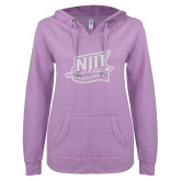ENZA Ladies Hot Violet V Notch Raw Edge Fleece Hoodie-NJIT Mark Glitter