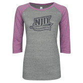 ENZA Ladies Athletic Heather/Violet Vintage Baseball Tee-NJIT Mark Glitter