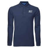 Navy Long Sleeve Polo-Stacked Wordmark