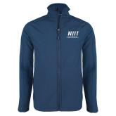 Navy Softshell Jacket-Stacked Wordmark