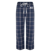 Navy/White Flannel Pajama Pant-Stacked Wordmark