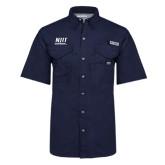 Columbia Bonehead Navy Short Sleeve Shirt-Stacked Wordmark