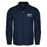 Full Zip Navy Wind Jacket-Stacked Wordmark
