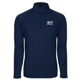 Sport Wick Stretch Navy 1/2 Zip Pullover-Stacked Wordmark