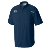 Columbia Tamiami Performance Navy Short Sleeve Shirt-Stacked Wordmark