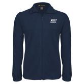 Fleece Full Zip Navy Jacket-Stacked Wordmark