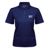 Ladies Navy Dry Mesh Polo-Stacked Wordmark