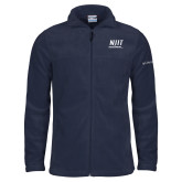 Columbia Full Zip Navy Fleece Jacket-Stacked Wordmark
