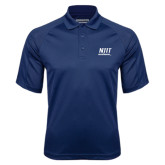 Navy Textured Saddle Shoulder Polo-Stacked Wordmark