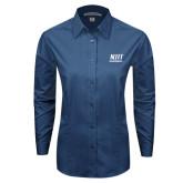 Ladies Deep Blue Tonal Pattern Long Sleeve Shirt-Stacked Wordmark