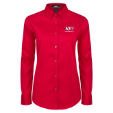 Ladies Red Twill Button Down Long Sleeve-Stacked Wordmark
