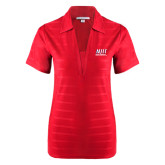 Ladies Red Horizontal Textured Polo-Stacked Wordmark