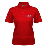 Ladies Red Dry Mesh Polo-Stacked Wordmark