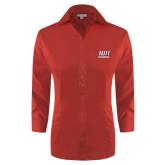 Ladies Red House Red 3/4 Sleeve Shirt-Stacked Wordmark