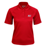 Ladies Red Textured Saddle Shoulder Polo-Stacked Wordmark