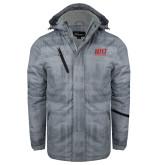 Grey Brushstroke Print Insulated Jacket-Stacked Wordmark