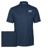 Navy Performance Fine Jacquard Polo-Stacked Wordmark